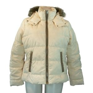 Old Navy Cream Hooded Puffer Jacket Size XL